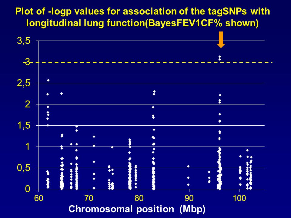 PCSK1 LNPEP CAST + ARTS Chromosomal position (Mbp) Two SNPs in CAST associated with variation in longitudinal lung function measures