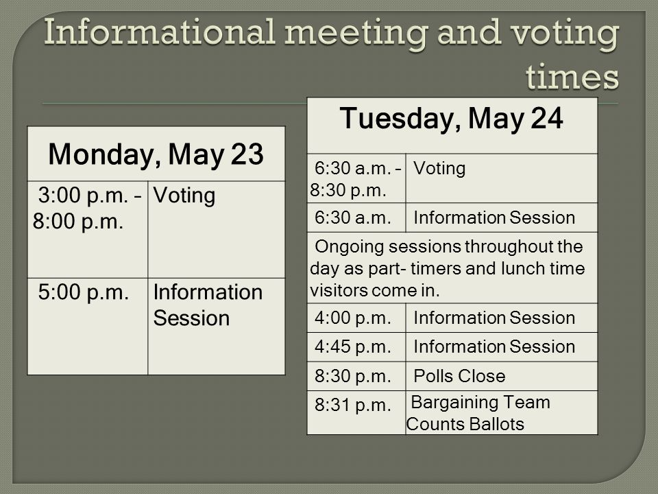 Monday, May 23 3:00 p.m. – 8:00 p.m. Voting 5:00 p.m.Information Session Tuesday, May 24 6:30 a.m.
