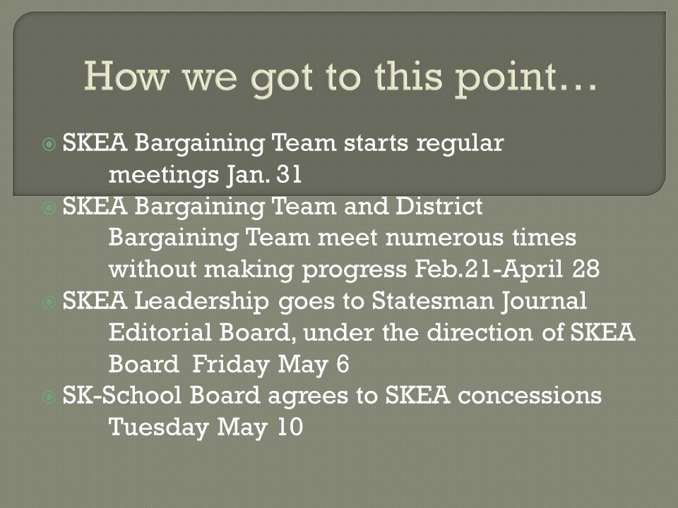 How we got to this point…  SKEA Bargaining Team starts regular meetings Jan.