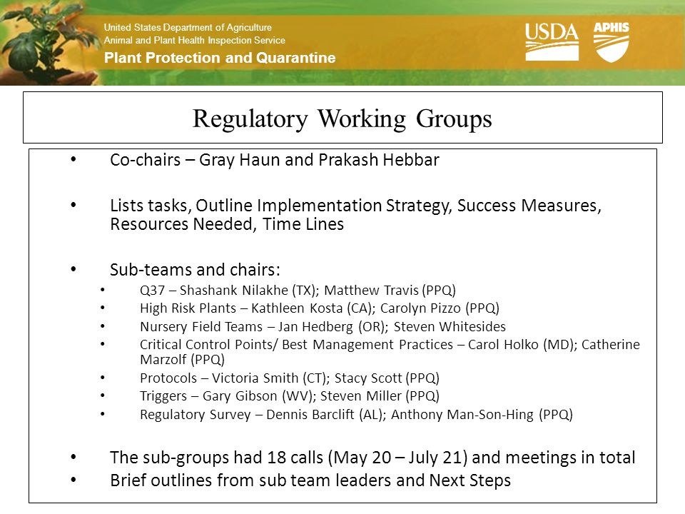 United States Department of Agriculture Animal and Plant Health Inspection Service Plant Protection and Quarantine Regulatory Working Groups Co-chairs – Gray Haun and Prakash Hebbar Lists tasks, Outline Implementation Strategy, Success Measures, Resources Needed, Time Lines Sub-teams and chairs: Q37 – Shashank Nilakhe (TX); Matthew Travis (PPQ) High Risk Plants – Kathleen Kosta (CA); Carolyn Pizzo (PPQ) Nursery Field Teams – Jan Hedberg (OR); Steven Whitesides Critical Control Points/ Best Management Practices – Carol Holko (MD); Catherine Marzolf (PPQ) Protocols – Victoria Smith (CT); Stacy Scott (PPQ) Triggers – Gary Gibson (WV); Steven Miller (PPQ) Regulatory Survey – Dennis Barclift (AL); Anthony Man-Son-Hing (PPQ) The sub-groups had 18 calls (May 20 – July 21) and meetings in total Brief outlines from sub team leaders and Next Steps