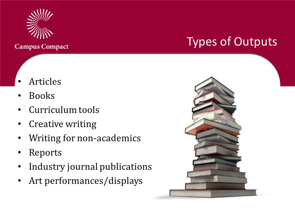 Types of Outputs Articles Books Curriculum tools Creative writing Writing for non-academics Reports Industry journal publications Art performances/displays