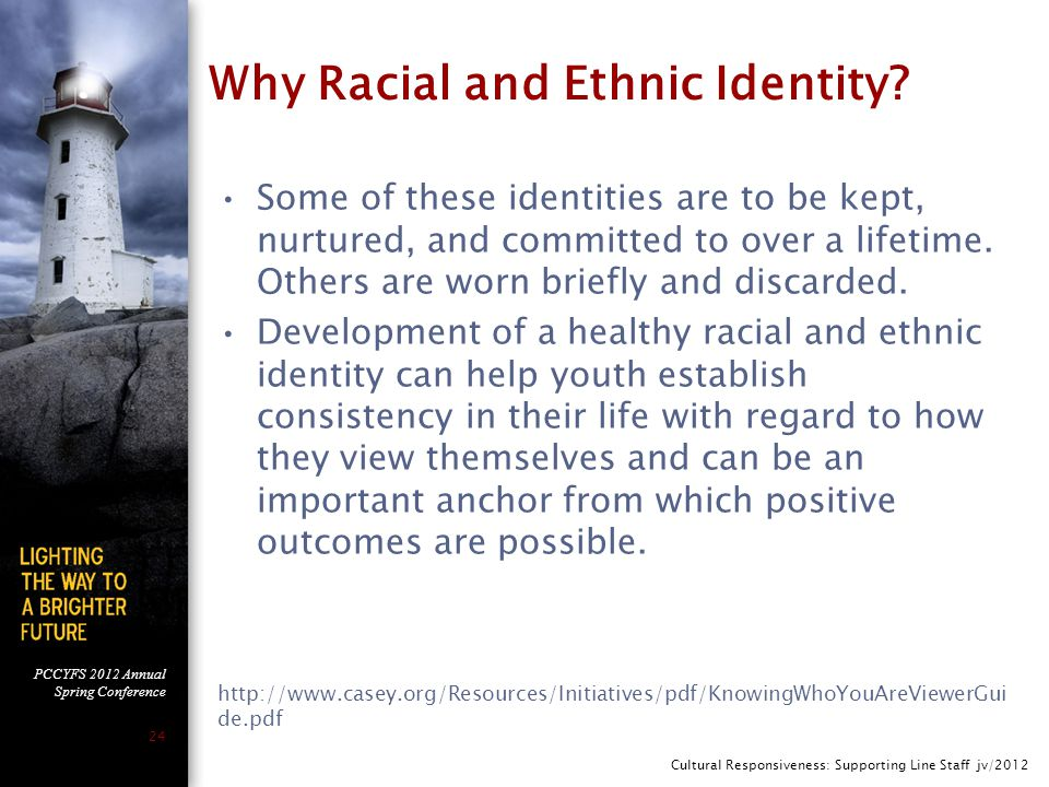 PCCYFS 2012 Annual Spring Conference 24 Why Racial and Ethnic Identity.