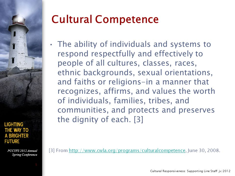 PCCYFS 2012 Annual Spring Conference 5 Cultural Competence The ability of individuals and systems to respond respectfully and effectively to people of all cultures, classes, races, ethnic backgrounds, sexual orientations, and faiths or religions-in a manner that recognizes, affirms, and values the worth of individuals, families, tribes, and communities, and protects and preserves the dignity of each.