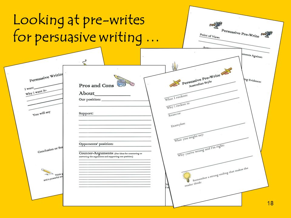 18 Looking at pre-writes for persuasive writing …
