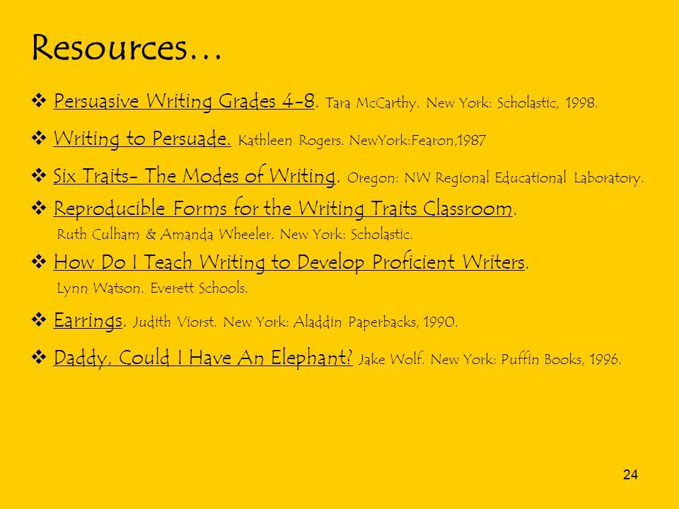 24 Resources…  Persuasive Writing Grades 4-8. Tara McCarthy.