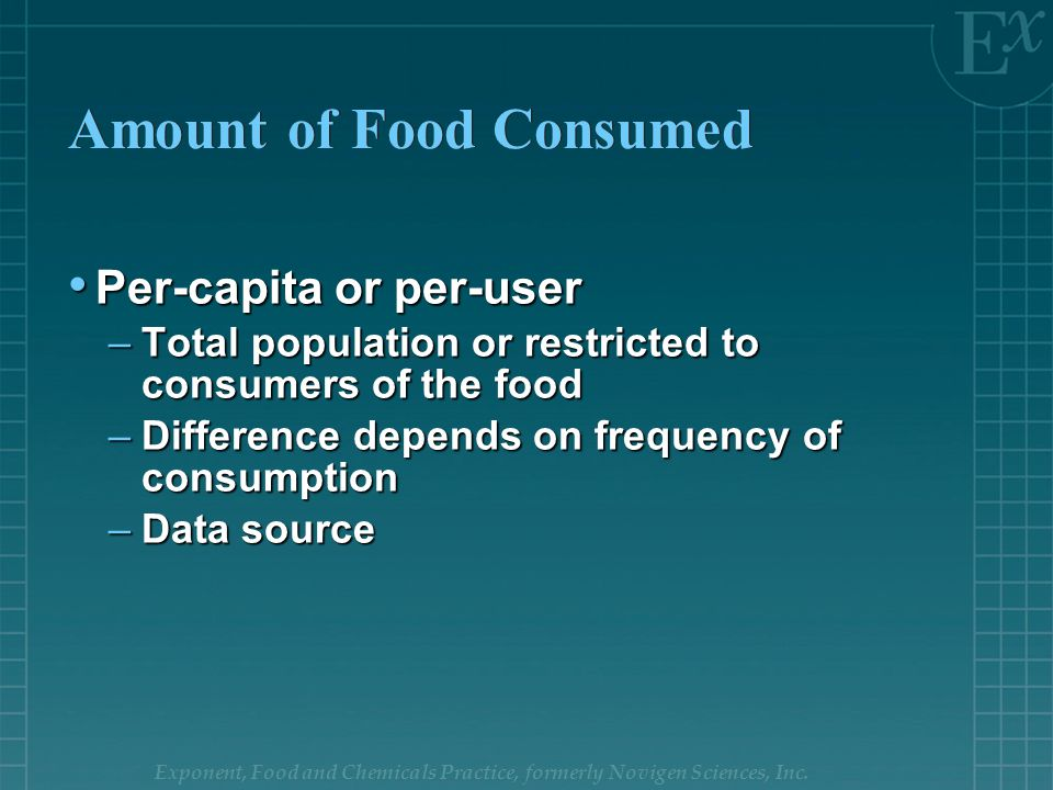Exponent, Food and Chemicals Practice, formerly Novigen Sciences, Inc. Amount of Food Consumed Per-capita or per-user Per-capita or per-user –Total po