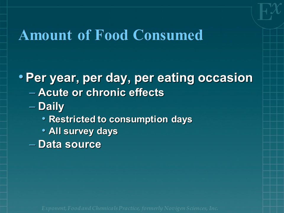 Exponent, Food and Chemicals Practice, formerly Novigen Sciences, Inc. Amount of Food Consumed Per year, per day, per eating occasion Per year, per da