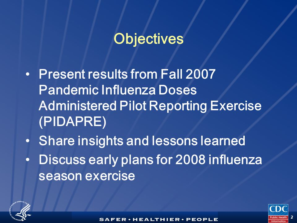 TM 2 Objectives Present results from Fall 2007 Pandemic Influenza Doses Administered Pilot Reporting Exercise (PIDAPRE) Share insights and lessons learned Discuss early plans for 2008 influenza season exercise