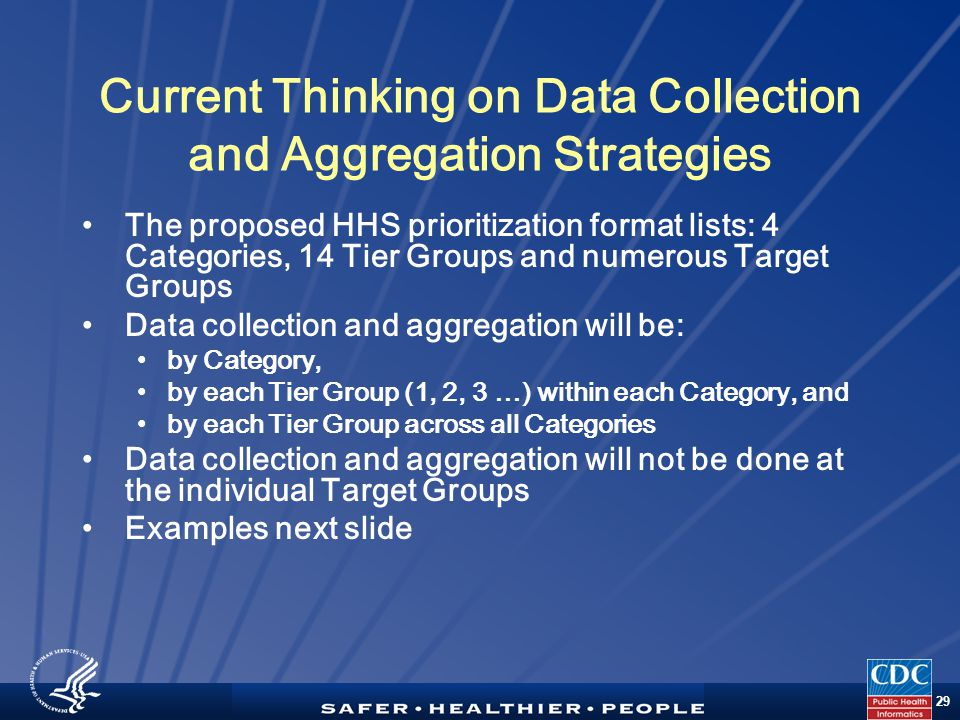 TM 29 Current Thinking on Data Collection and Aggregation Strategies The proposed HHS prioritization format lists: 4 Categories, 14 Tier Groups and numerous Target Groups Data collection and aggregation will be: by Category, by each Tier Group (1, 2, 3 …) within each Category, and by each Tier Group across all Categories Data collection and aggregation will not be done at the individual Target Groups Examples next slide
