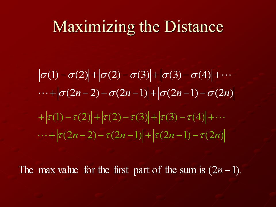 Maximizing the Distance