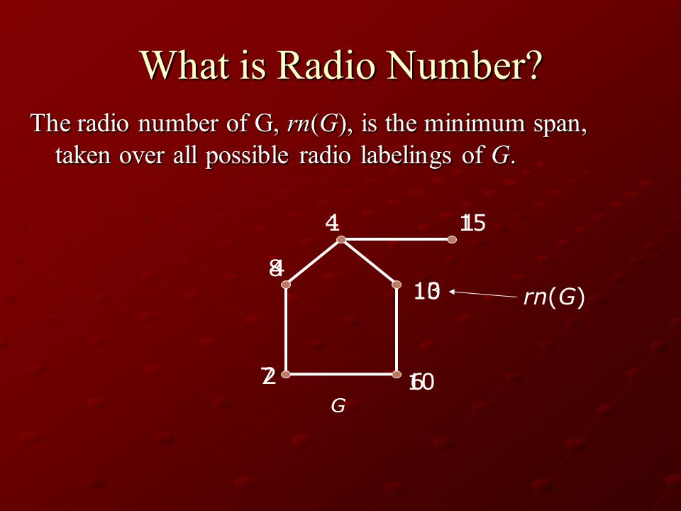 4 10 1 2 6 1 13 15 7 10 4 8 What is Radio Number.