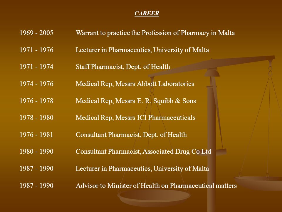 CAREER 1969 - 2005 Warrant to practice the Profession of Pharmacy in Malta 1971 - 1976Lecturer in Pharmaceutics, University of Malta 1971 - 1974Staff