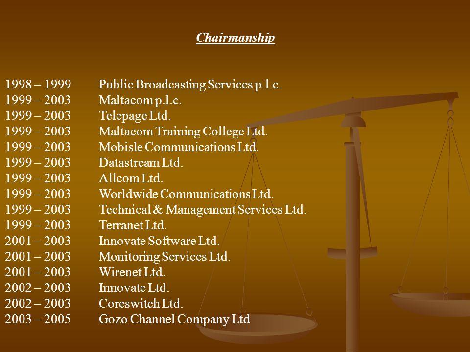 Chairmanship 1998 – 1999 Public Broadcasting Services p.l.c. 1999 – 2003Maltacom p.l.c. 1999 – 2003Telepage Ltd. 1999 – 2003Maltacom Training College