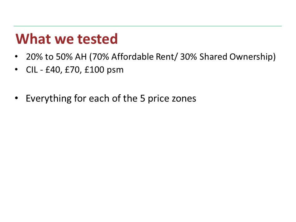 What we tested 20% to 50% AH (70% Affordable Rent/ 30% Shared Ownership) CIL - £40, £70, £100 psm Everything for each of the 5 price zones