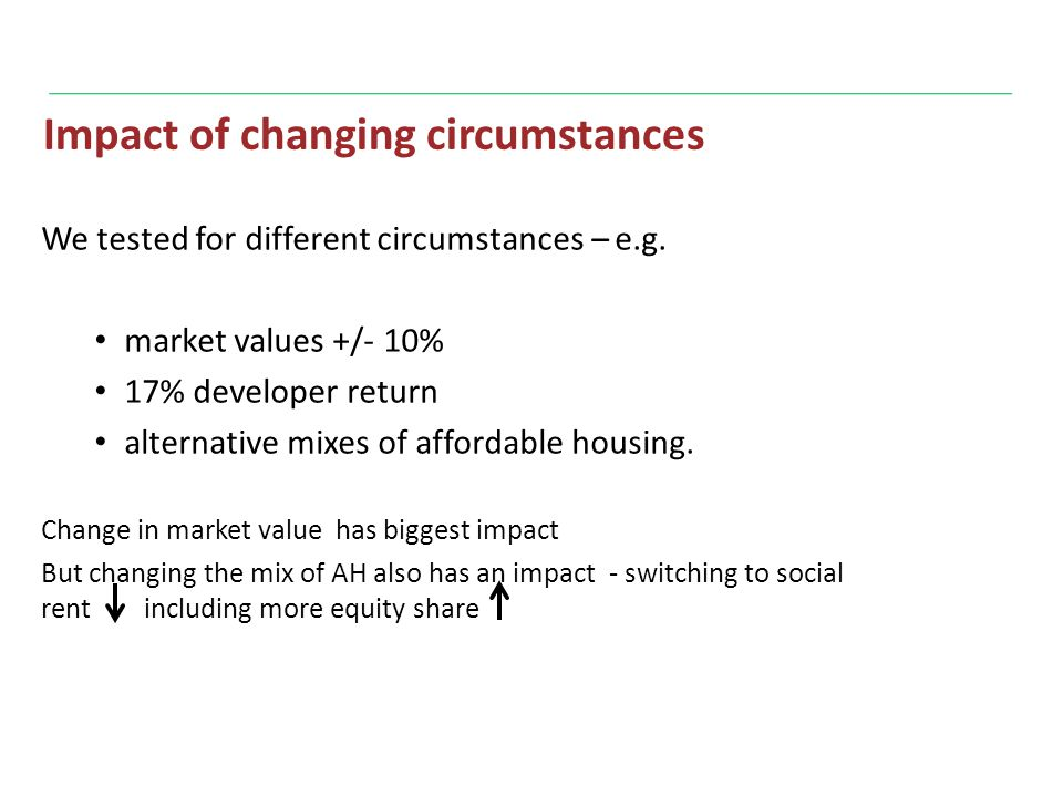 Impact of changing circumstances We tested for different circumstances – e.g.