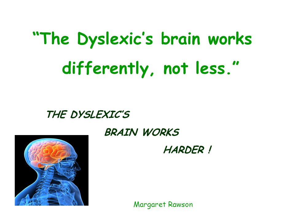 The Dyslexic's brain works differently, not less. THE DYSLEXIC'S BRAIN WORKS HARDER .