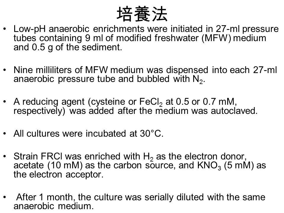 培養法 Low-pH anaerobic enrichments were initiated in 27-ml pressure tubes containing 9 ml of modified freshwater (MFW) medium and 0.5 g of the sediment.
