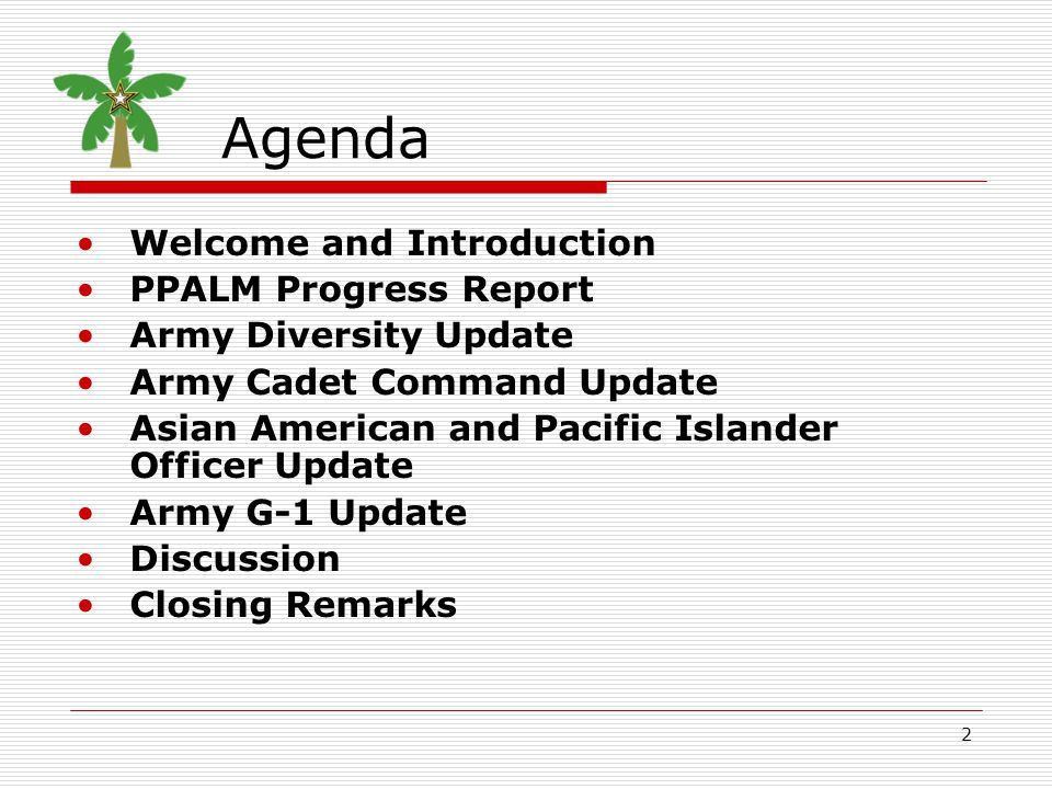 2 Agenda Welcome and Introduction PPALM Progress Report Army Diversity Update Army Cadet Command Update Asian American and Pacific Islander Officer Up