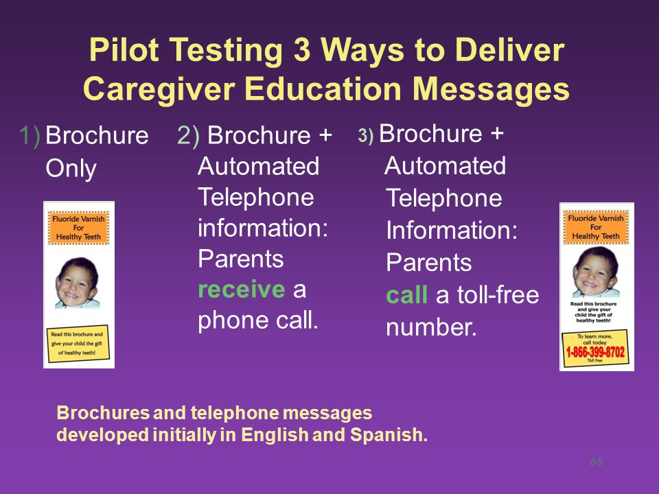 68 Pilot Testing 3 Ways to Deliver Caregiver Education Messages 1)Brochure Only 2) Brochure + Automated Telephone information: Parents receive a phone call.