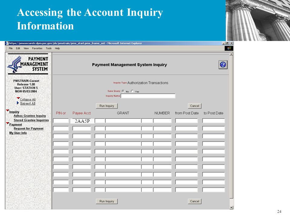 24 2AA5P Accessing the Account Inquiry Information