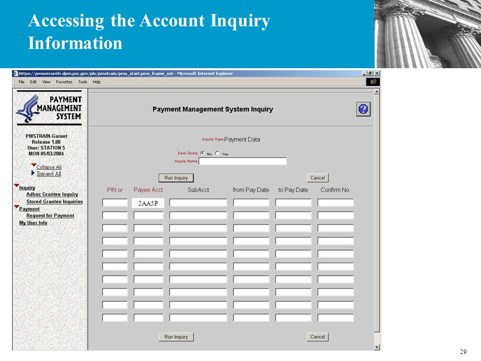 29 2AA5P Accessing the Account Inquiry Information