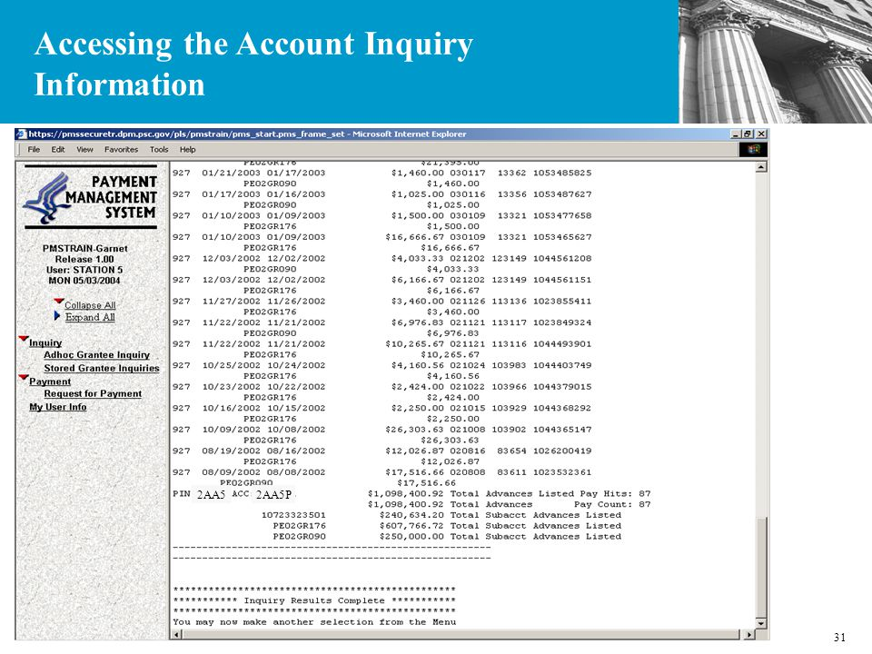 31 2AA52AA5P Accessing the Account Inquiry Information