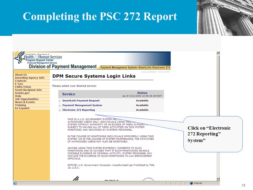 51 Click on Electronic 272 Reporting System Completing the PSC 272 Report