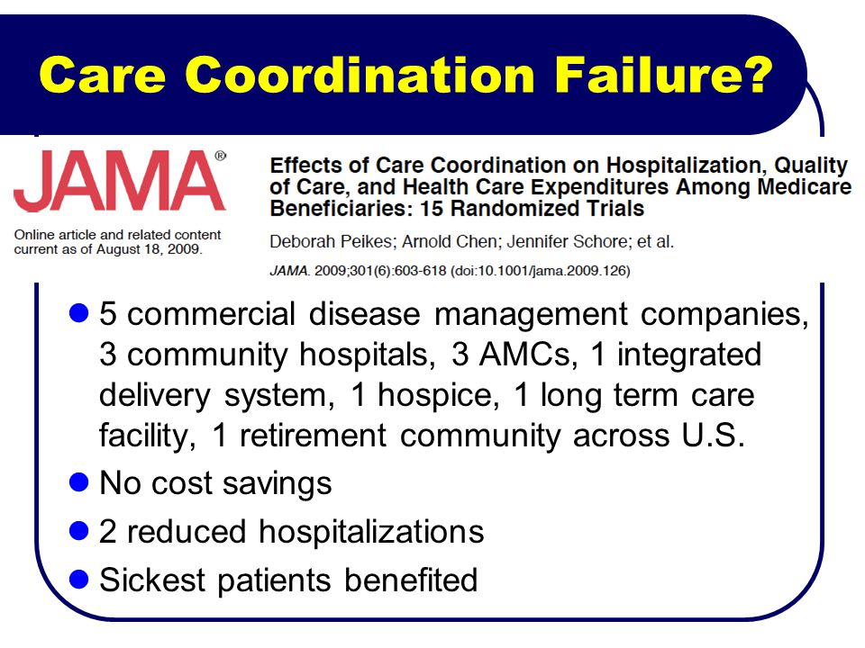 Care Coordination Failure? 5 commercial disease management companies, 3 community hospitals, 3 AMCs, 1 integrated delivery system, 1 hospice, 1 long t
