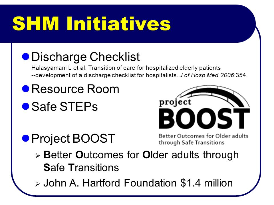 SHM Initiatives Discharge Checklist Halasyamani L et al.