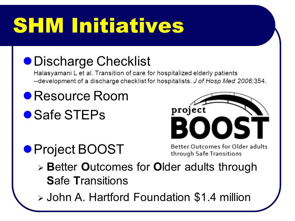 SHM Initiatives Discharge Checklist Halasyamani L et al. Transition of care for hospitalized elderly patients --development of a discharge checklist f