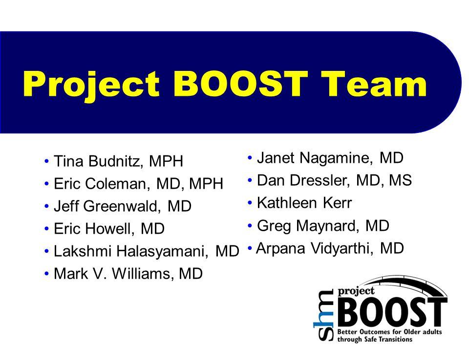 Project BOOST Team Tina Budnitz, MPH Eric Coleman, MD, MPH Jeff Greenwald, MD Eric Howell, MD Lakshmi Halasyamani, MD Mark V. Williams, MD Janet Nagam