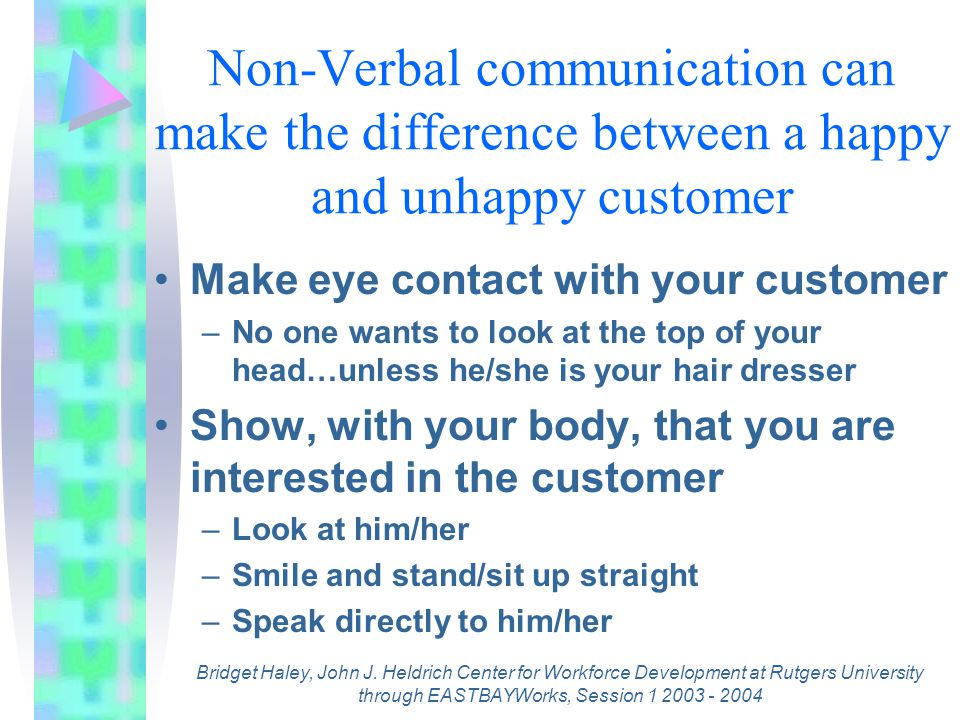 Verbal Communication What is your voice saying –Words are not the only things that people hear Try to avoid closed-ended questions – Do you need to sign in? –Closed-ended questions can end the conversation and the customer may walk away without getting enough information Open-ended questions keep the conversation going – What can I help you with today? –Open –ended questions get the customer talking and you learn what the customer wants Bridget Haley, John J.