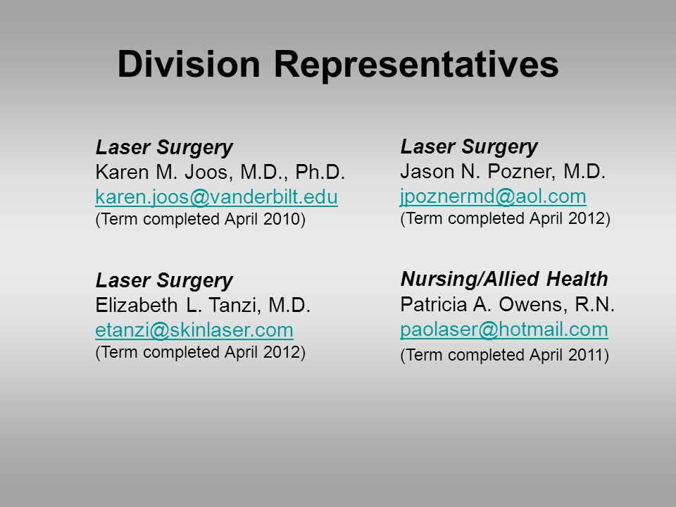 Division Representatives Laser Surgery Karen M. Joos, M.D., Ph.D.