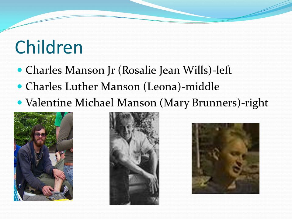 Children Charles Manson Jr (Rosalie Jean Wills)-left Charles Luther Manson (Leona)-middle Valentine Michael Manson (Mary Brunners)-right