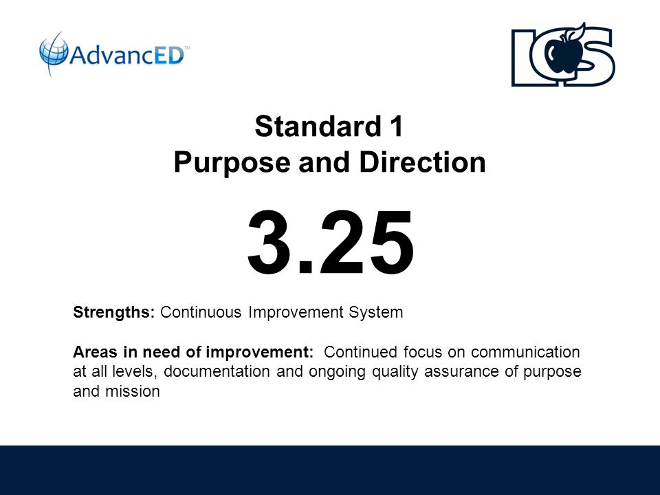 Standard 1 Purpose and Direction 3.25 Strengths: Continuous Improvement System Areas in need of improvement: Continued focus on communication at all levels, documentation and ongoing quality assurance of purpose and mission