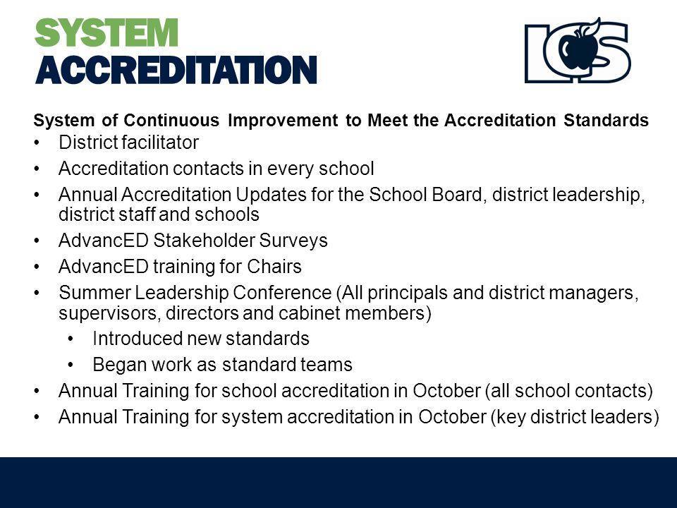 SYSTEM ACCREDITATION System of Continuous Improvement to Meet the Accreditation Standards District facilitator Accreditation contacts in every school Annual Accreditation Updates for the School Board, district leadership, district staff and schools AdvancED Stakeholder Surveys AdvancED training for Chairs Summer Leadership Conference (All principals and district managers, supervisors, directors and cabinet members) Introduced new standards Began work as standard teams Annual Training for school accreditation in October (all school contacts) Annual Training for system accreditation in October (key district leaders)