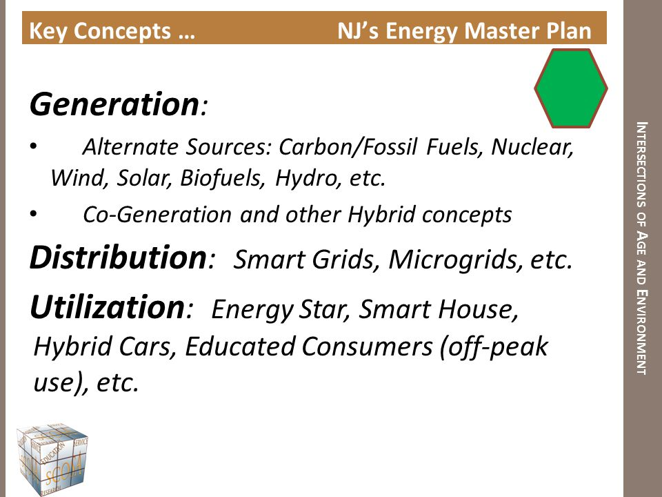 I NTERSECTIONS OF A GE AND E NVIRONMENT Key Concepts … NJ's Energy Master Plan Generation : Alternate Sources: Carbon/Fossil Fuels, Nuclear, Wind, Sol