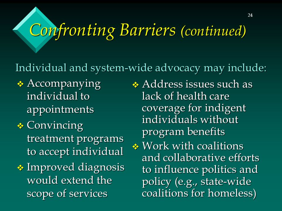 24 Confronting Barriers (continued)  Accompanying individual to appointments  Convincing treatment programs to accept individual  Improved diagnosis would extend the scope of services  Address issues such as lack of health care coverage for indigent individuals without program benefits  Work with coalitions and collaborative efforts to influence politics and policy (e.g., state-wide coalitions for homeless) Individual and system-wide advocacy may include: