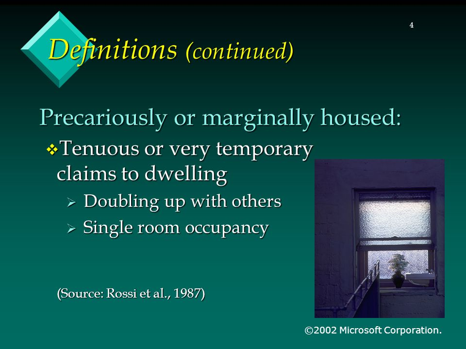 5 Definitions (continued) Adequate housing:  Protection from the elements  Access to potable water  Provision for removal of human/animal waste  Protection from intruders  Freedom from sudden removal/eviction (Source: Conroy, 1987) (Source: Conroy, 1987) ©2002 Microsoft Corporation.