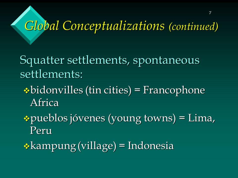 7 Global Conceptualizations (continued) Squatter settlements, spontaneous settlements:  bidonvilles (tin cities) = Francophone Africa  pueblos jóvenes (young towns) = Lima, Peru  kampung (village) = Indonesia