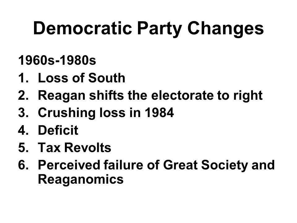 Democratic Party Changes New Democrats Socially liberal Fiscally Conservative Pro-Business Government has limited, but important role Democratic Leadership Council (DLC)(DLC)