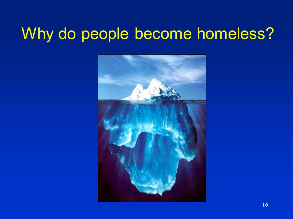 16 Why do people become homeless?