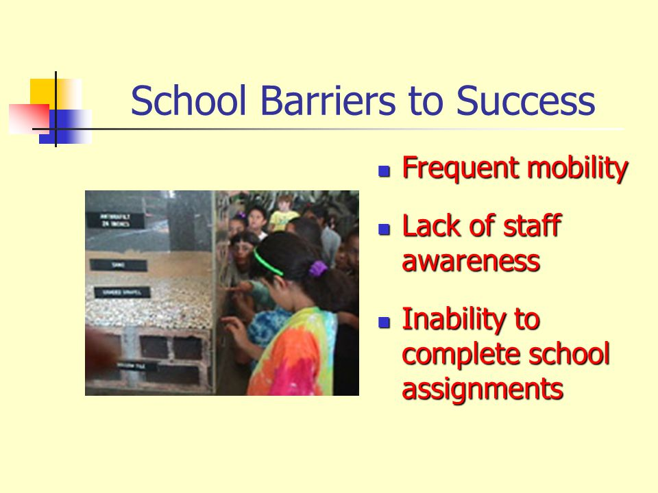 School Barriers to Success Frequent mobility Frequent mobility Lack of staff awareness Lack of staff awareness Inability to complete school assignment