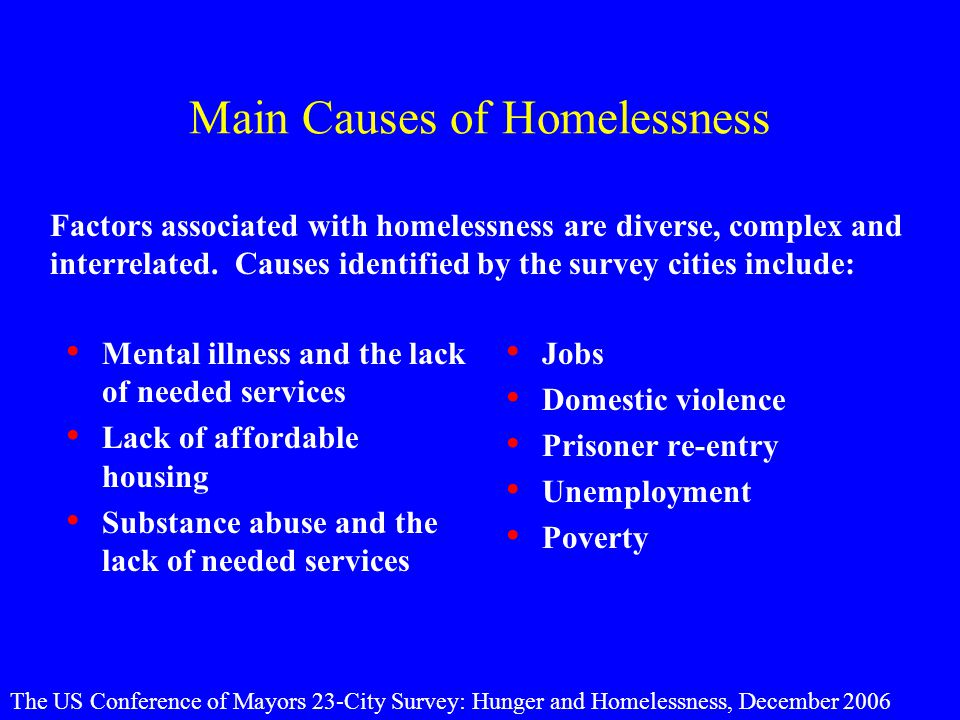 Main Causes of Homelessness Mental illness and the lack of needed services Lack of affordable housing Substance abuse and the lack of needed services Jobs Domestic violence Prisoner re-entry Unemployment Poverty Factors associated with homelessness are diverse, complex and interrelated.