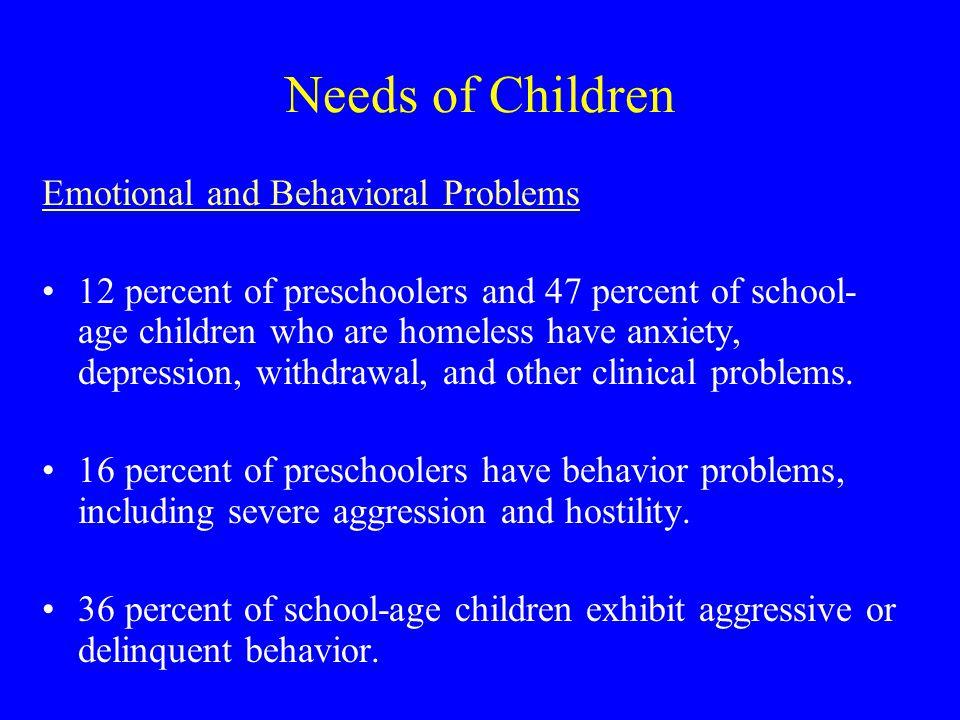 Needs of Children Emotional and Behavioral Problems 12 percent of preschoolers and 47 percent of school- age children who are homeless have anxiety, depression, withdrawal, and other clinical problems.