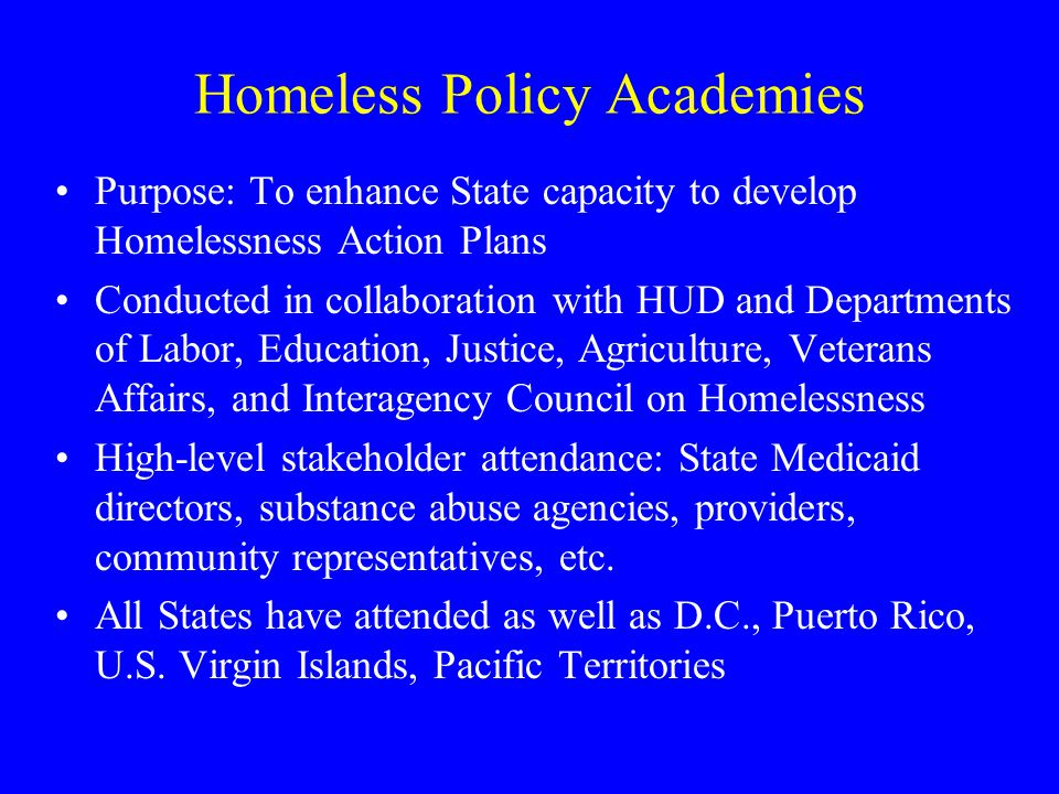Homeless Policy Academies Purpose: To enhance State capacity to develop Homelessness Action Plans Conducted in collaboration with HUD and Departments of Labor, Education, Justice, Agriculture, Veterans Affairs, and Interagency Council on Homelessness High-level stakeholder attendance: State Medicaid directors, substance abuse agencies, providers, community representatives, etc.