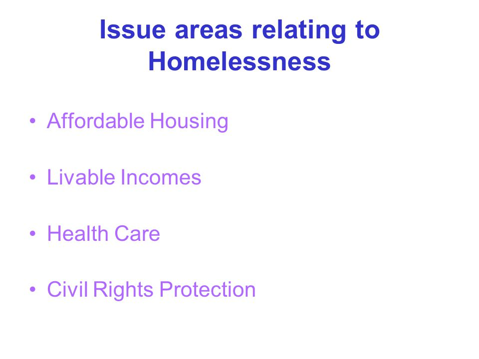 Issue areas relating to Homelessness Affordable Housing Livable Incomes Health Care Civil Rights Protection