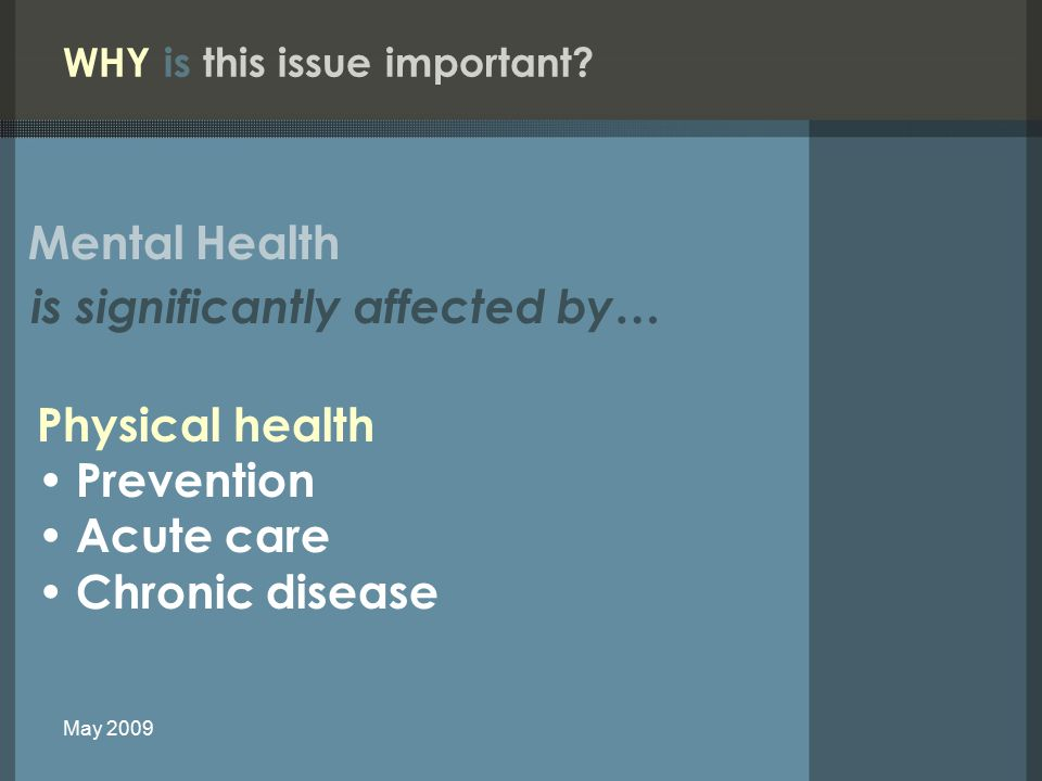 Physical health Prevention Acute care Chronic disease WHY is this issue important.