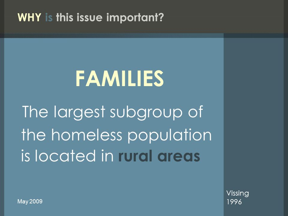 National Survey Coordination of Mental Health Services for Youth in Chronically Homeless Families A CLINICAL PRIORITY FOR : 2008 Health Care for the Homeless Clinicians' Network Pediatrics Work Group May 2009
