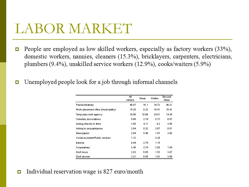  People are employed as low skilled workers, especially as factory workers (33%), domestic workers, nannies, cleaners (15.3%), bricklayers, carpenter